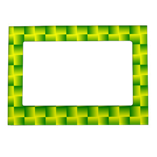 Yellow-green squares frame magnetic frame
