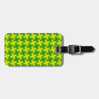 Yellow-green squares luggage tag