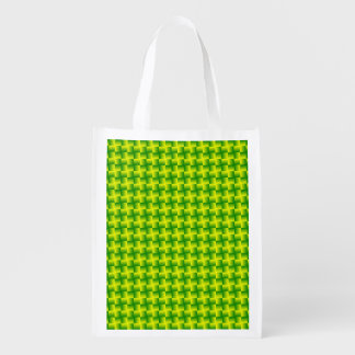 Yellow-green squares reusable grocery bag