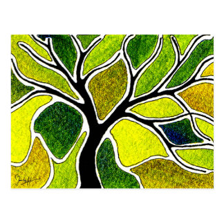 Yellow Green Tree Art Card