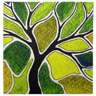 Yellow Green Tree Art Card Napkin