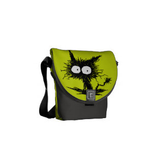 Yellow Green Unkempt Kitten GabiGabi Courier Bag