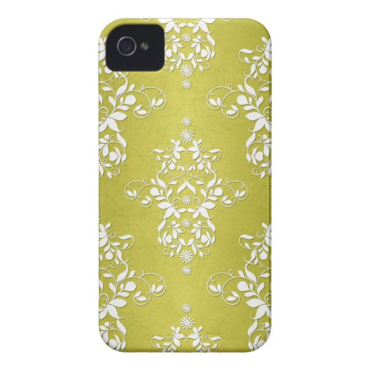 Yellow Green Victorian Retro Floral Damask Case-Mate iPhone 4 Case