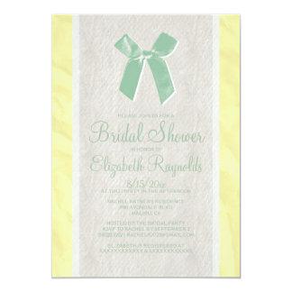 Yellow Green Vintage Bow Bridal Shower Invitations