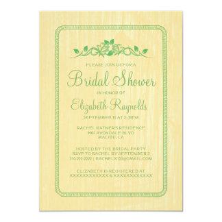 Yellow Green Vintage Wood Bridal Shower Invitation