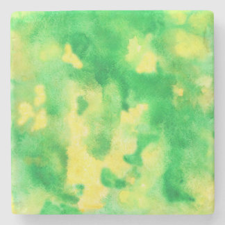 Yellow Green Watercolor Marble Stone Coaster