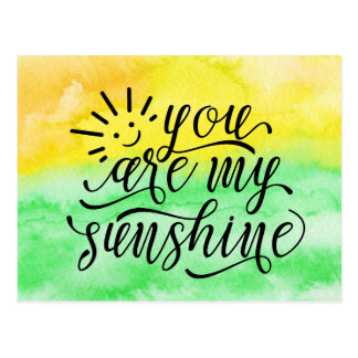Yellow Green Watercolor You Are My Sunshine Postcard