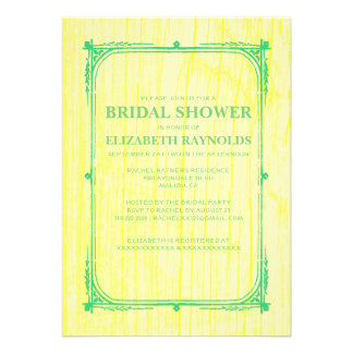 Yellow Green Western Wood Bridal Shower Invitation Custom Invitation