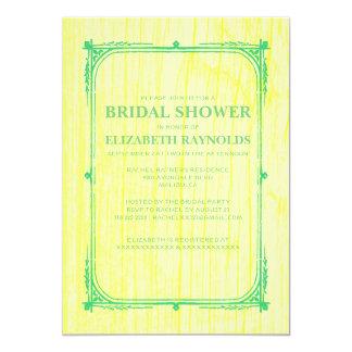 Yellow Green Western Wood Bridal Shower Invitation