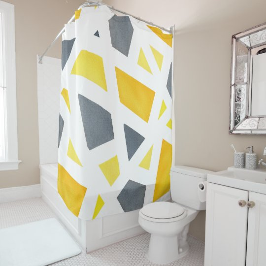 Yellow Grey Abstract Geometric Shower Curtain
