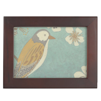 Yellow, Grey and Beige Bird Perched on a Branch Keepsake Box
