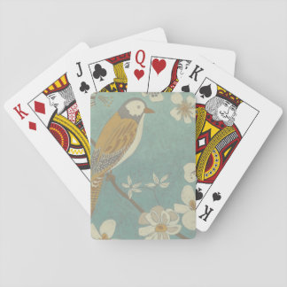 Yellow, Grey and Beige Bird Perched on a Branch Playing Cards