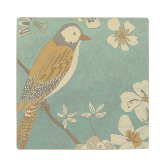Yellow, Grey and Beige Bird Perched on a Branch Wood Coaster