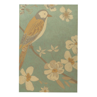 Yellow, Grey and Beige Bird Perched on a Branch Wood Wall Decor