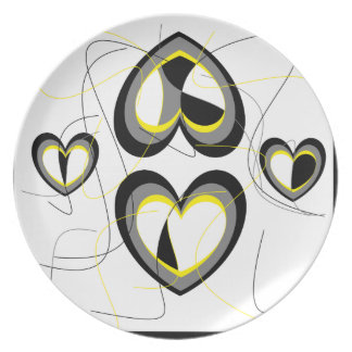 Yellow,grey and black hearts plate