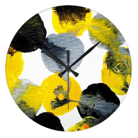 Yellow, Grey and Black Intertactions Clock
