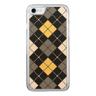Yellow Grey and White Argyle Pattern Carved iPhone 8/7 Case