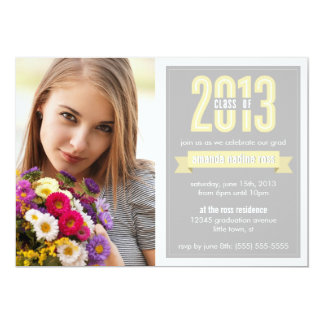 Yellow Grey Banner Class of 2013 Photo Graduation Card