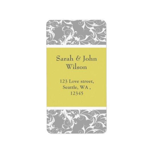yellow grey Baroque Wedding Address Label