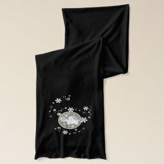 Yellow grey black fancy elephant floral scarf