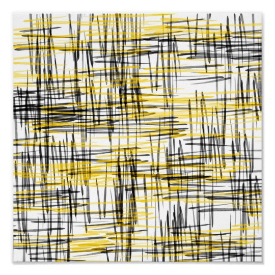 'Yellow Grey Black Scribbles' Watercolor Abstract Poster