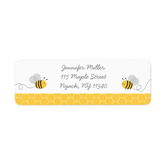 Yellow & Grey Bumble Bee Baby Shower Address Return Address Label