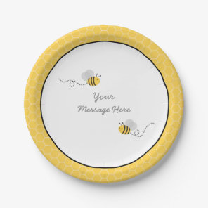 Yellow & Grey Bumble Bee Baby Shower Paper Plate