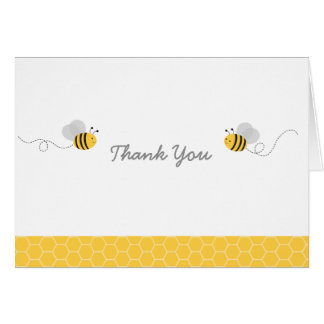 Yellow & Grey Bumble Bee Baby Shower Thank You Card