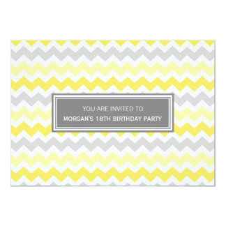 Yellow Grey Chevron 18th Birthday Party Invitation