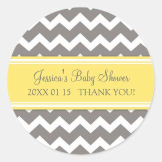 Yellow Grey Chevron Baby Shower Favor Stickers