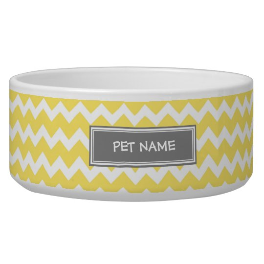 Yellow Grey Chevron Custom Name Dog Bowl