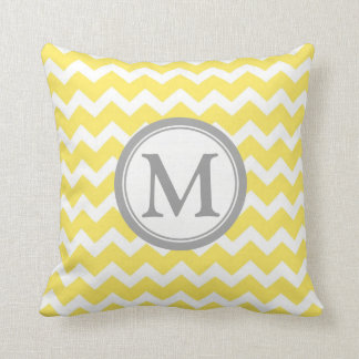 Yellow Grey Chevron Monogram Decorative Pillow