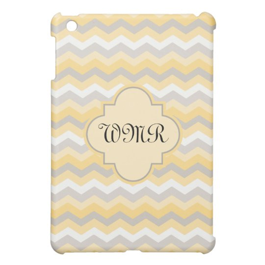 Yellow/Grey Chevron Monogram iPad Mini Case
