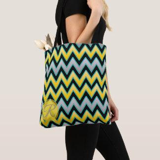 Yellow Grey Chevron pattern monogram personalised Tote Bag