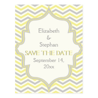 Yellow grey chevron zigzag wedding Save the Date Postcard