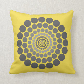 Yellow grey Circle pattern pillow