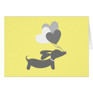 Yellow Grey Dachshund Baby Shower Thank You Cards