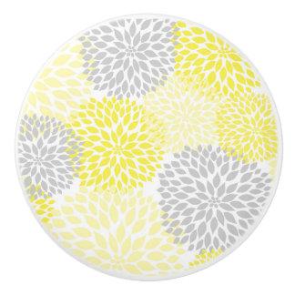 Yellow Grey Dahlias floral blossoms flowers Ceramic Knob