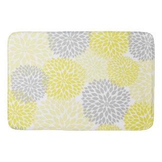 Yellow Grey Dahlias / flowers floral bathroom Bath Mats