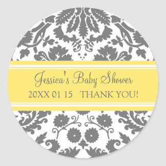 Yellow Grey Damask Baby Shower Favour Stickers
