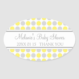 Yellow Grey Dots Baby Shower Favor Stickers