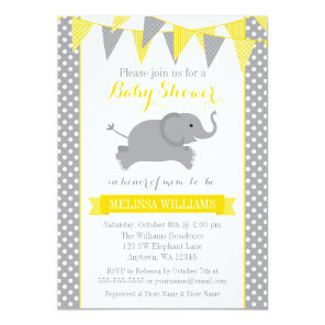 Yellow Grey Elephant Polka Dot Bunting Baby Shower Invitation