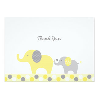 Yellow & Grey Elephant Thank You Cards 11 Cm X 16 Cm Invitation Card