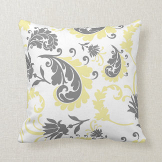 Yellow & Grey Floral Accent Pillow 16x16