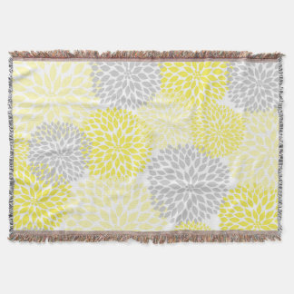 Yellow Grey Floral throw blanket / spring decor