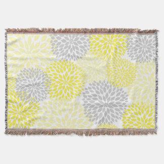 Yellow Grey Floral throw blanket / spring decor
