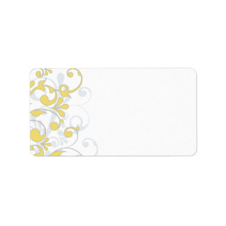 Yellow Grey Floral Wedding Blank Address Label