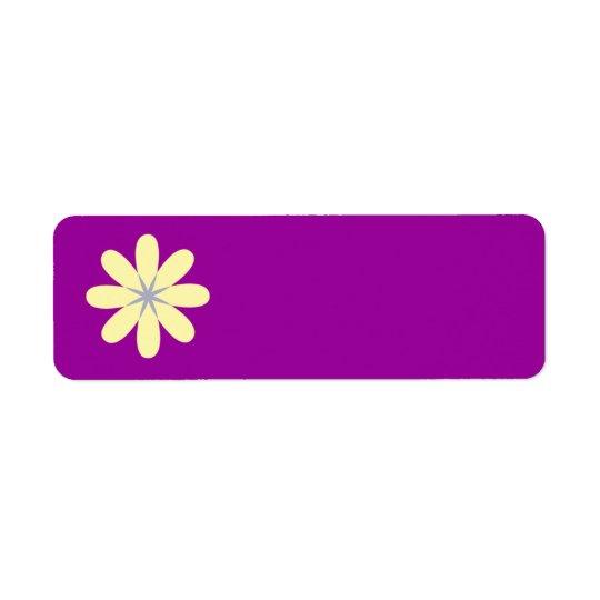 Yellow Grey Flower Return Address Label