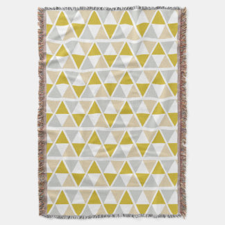 Yellow Grey Geometric Pattern Throw Blanket