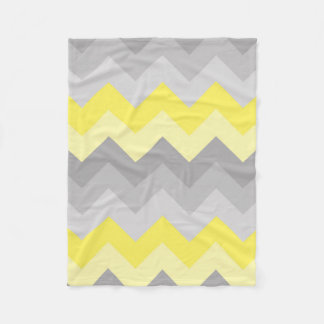 Yellow Grey Gray Ombre Chevron Fleece Blanket